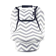 Stretchy Baby Car Seat Covers For Boys Girls, Infant Car Canopy for Winter Autumn Spring,Snug Warm Breathable Windproof, Zipped Peep Window,Universal Fit, Grey White chevron -Patented Design