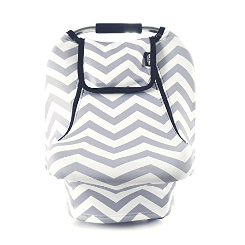 Stretchy Baby Car Seat Covers For Boys Girls, Infant Car Canopy for Spring Autumn Winter,Snug Warm Breathable Windproof, Zipped Peep Window,Universal Fit, Grey White chevron -Patented (Infant Cover)