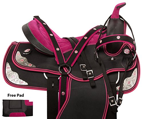 LIGHT WEIGHT PINK SILVER TEXAS STAR SHOW TRAIL HORSE SADDLE CORDURA SYNTHETIC FREE TACK SET (14)