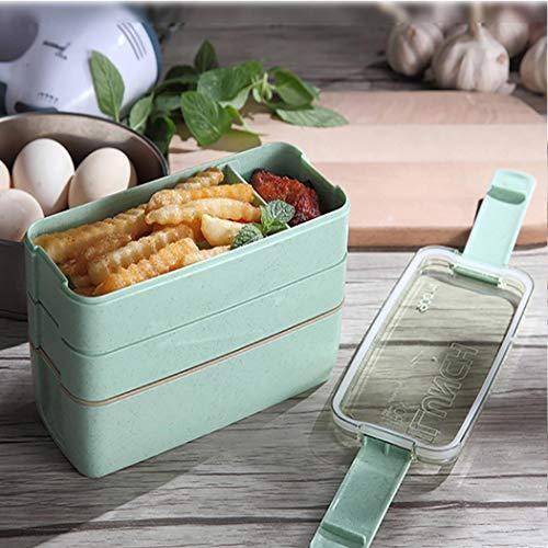 Borisdar Portable Three Layers Square Shape Outdoor Lunch Box Food Storage Box Flatware Sets