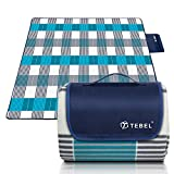 TEBEL Extra Large Picnic & Outdoor Blanket,Picnic Rug 80'' x 80'' Dual Layers for Outdoor (Blue) (Blue Chek)