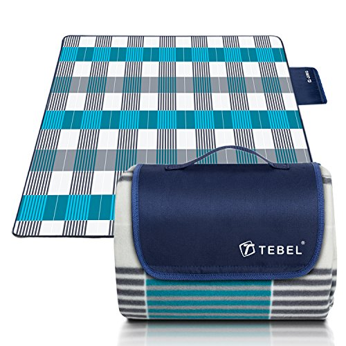 TEBEL Extra Large Picnic & Outdoor Blanket,Picnic Rug 80'' x 80'' Dual Layers Outdoor (Blue) (Blue Chek) by TEBEL