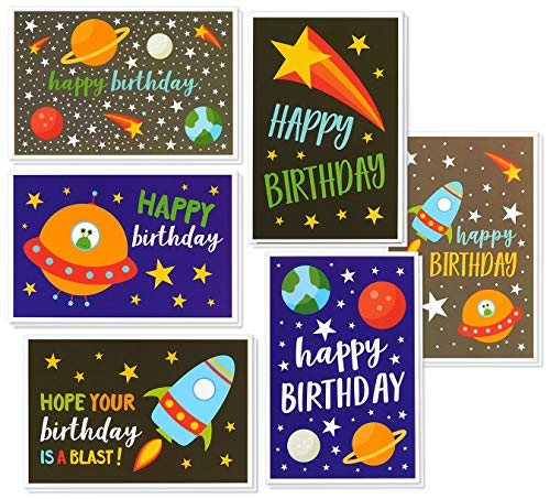 (Birthday Card - 48-Pack Birthday Cards Box Set, 6 Outer Space Desings with Spaceships, Planets and Stars - Galaxy Happy Birthday Cards Bulk, Envelopes Included, 4 x 6 Inches)