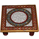 Balaji Arts Mable Handmade Multicolor Meenakari Work Bojat Pooja Chowki for Home Decor