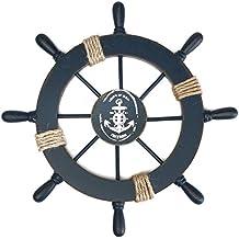 WINOMO Wood Pirate Ship Helm Wheel Home Nautical Wall Marine Decor(Dark Blue)