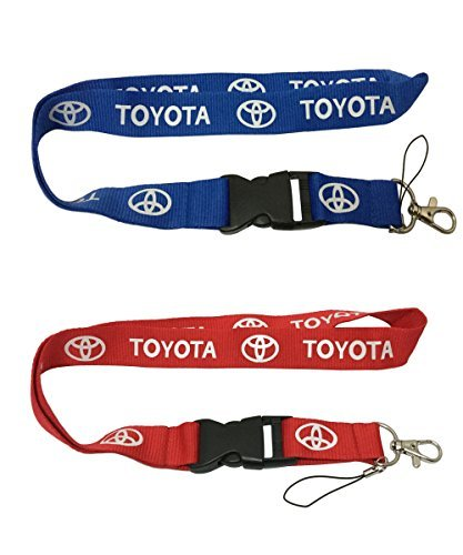 Set 1pcs Blue Toyota + 1pcs Red Toyota Auto Lanyard Workout Gear Office And Auto Car Keychain Accessories Motorbike Superbike Lanyard With Webbing Strap Quick Release Buckle