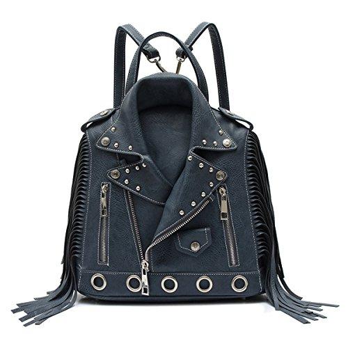 Fashion Glad Motorcycle Jacket Fringe (Charcoal) - Biker Handbags