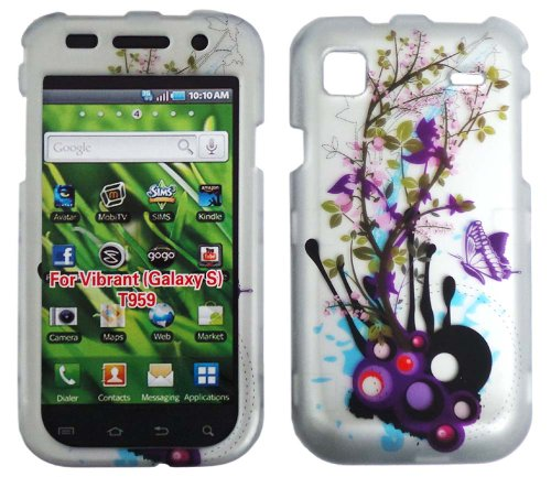 Snap on Design Case Hard Case Skin Cover Faceplate for T-Mobile Samsung Galaxy S 4G/Vibrant T959 (Purple Flower Butterfly)