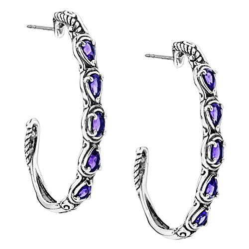 (Carolyn Pollack Sterling Silver Purple Amethyst Gemstone 5 Stone Hoop Earrings)