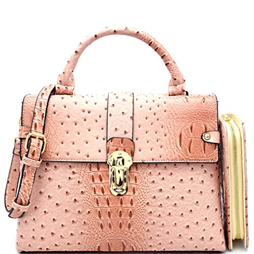 (Le Miel Ostrich Embossed Push-Lock Day Satchel Crossbody + Wallet- Blush)