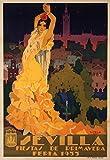 Sevilla - Fiestas de Primavera Vintage Poster (artist: Estela Anton) Spain c. 1932 (12x18 Collectible Art Print, Wall Decor Travel Poster)