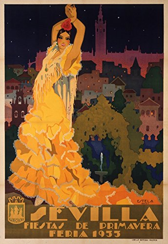 Sevilla - Fiestas de Primavera Vintage Poster (artist: Estela Anton) Spain c. 1932 (12x18 Collectible Art Print, Wall Decor Travel Poster) by Lantern Press
