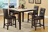 5 pc square cream faux marble espresso finish wood counter height dining table set with espresso faux leather upholstered chairs