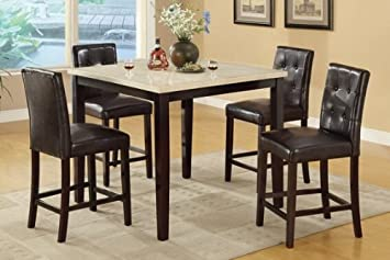 5 Pc Square Cream Faux Marble Espresso Finish Wood Counter Height Dining  Table Set With Espresso