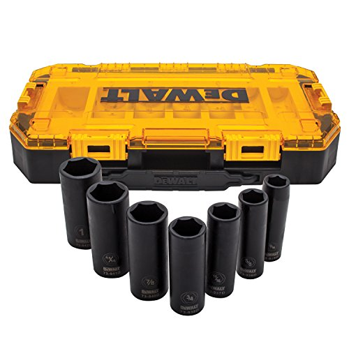 DEWALT DWMT74736 Tough Box 7PC SAE 1/2 Deep Drive Impact Socket Set (Set Socket Impact Sae)