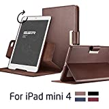 iPad Mini 4 Case, iPad Mini 4 Cover, iPad Mini 4 Cases and Covers, ESR Intelligent Series [360 degree rotating][Auto Wake & Sleep Function][Leather & Microfiber][Business Style] [Multi-Stand View Angles ] for [2015 Release] iPad Mini 4 (Brown)