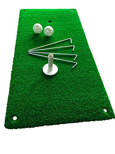 Revord-Golf-Chipping-Mat-Hitting-and-driving-practice-Home-use-and-Backyard-12-X-24-Real-Feel-Grass-Complete-with-2-Practice-Training-Balls-1-Rubber-Tee-and-4-Pegs