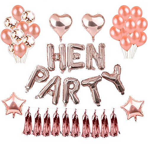Weimi Rose Gold Hen Party Decorations Self Inflating Foil HEN PARTY Banner Star Heart Foil Balloon Confetti Latex Balloons for Hen Do Nights Bachelor Party Supplies