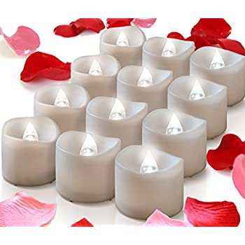 Amazon.com: 12 Flickering Flameless Candles - Romantic Battery ...