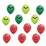 Mining Pixel Latex Balloons Made in USA perfect for mine craft party
