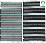 Bersuse 100% Organic Cotton Laguna Turkish Towel - 37X70 Inches, Mint Green/Grey, 1 Piece