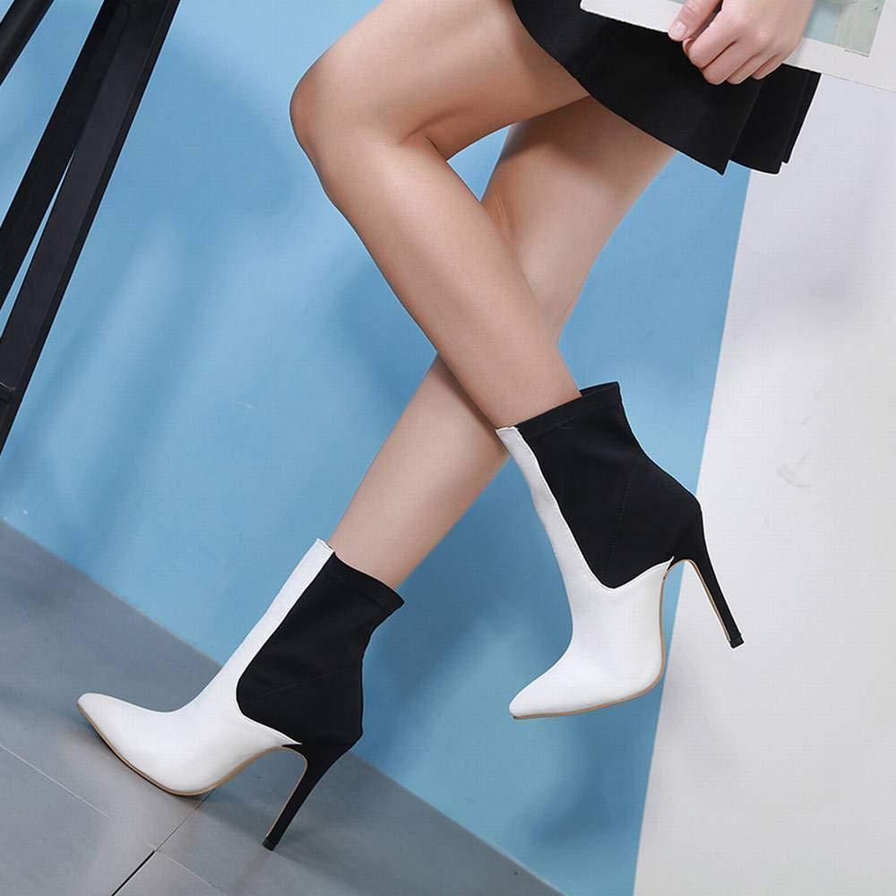Yahuyaka Yahuyaka Yahuyaka Damenstiefel Farbige Bloße Stiefel Hohe Absätze (Farbe   schwarz and Weiß Größe   39) dc5b30