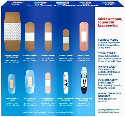 51EbyW9OkNL. AC - Band-Aid Brand Adhesive Bandage Family Variety Pack In Assorted Sizes Including Water Block, Sport Strip, Tough Strips, Flexible Fabric And Disney Bandages For First Aid And Wound Care, 120 Ct