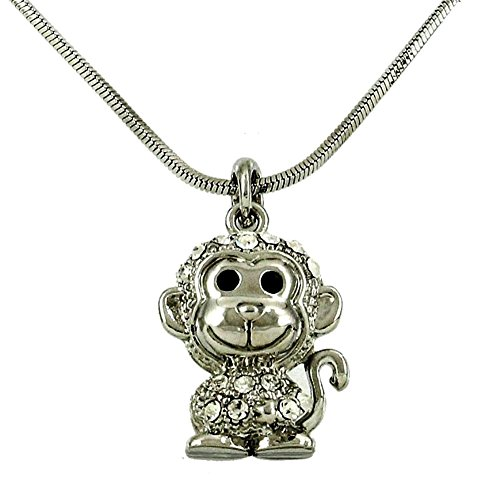 DianaL Boutique Adorable Little Monkey Charm Pendant Necklace Fashion Jewelry for Girls and Women