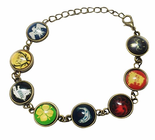 Game of Thrones 8 Glass Domed Themed Charms Metal Charm Bracelet