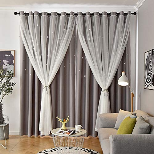 Leadtimes Double Layers Stars Cutout Curtains Bedroom Thermal Blackout Grommet Window Drape