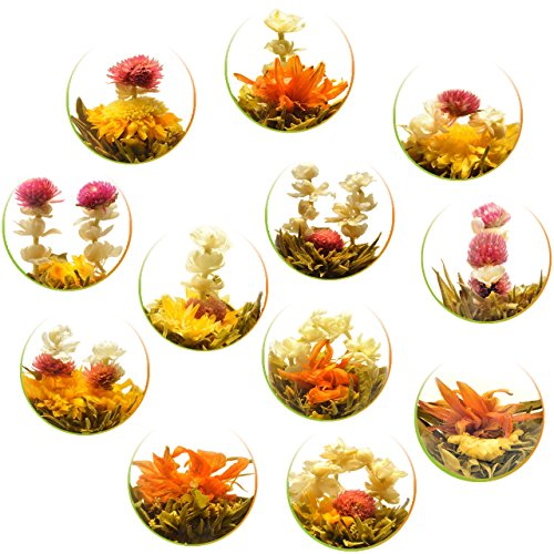 Teavivre Handmade Blooming Flower Tea, Assorted Flowering Green Tea Ball