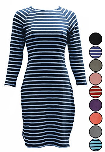 Comfy Cotton Crew Neck T-Shirt Dress with 3/4-Sleeves for Junior/Misses/Teen (Medium, Navy Blue & White (White Dress For Teenager)