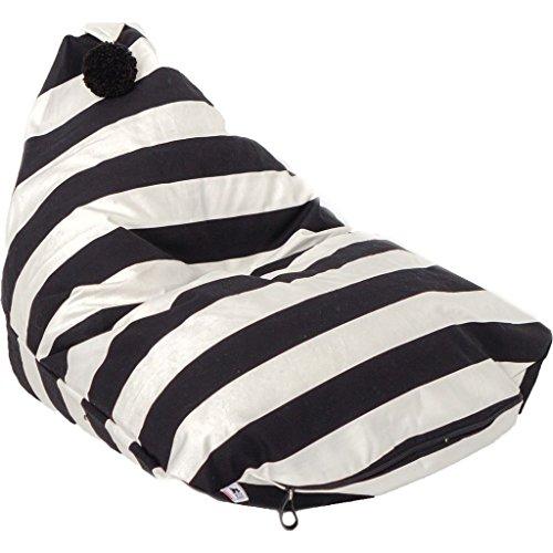- Wild Design Lab Alden Bean Bag Chair Cover | Black/White Stripes
