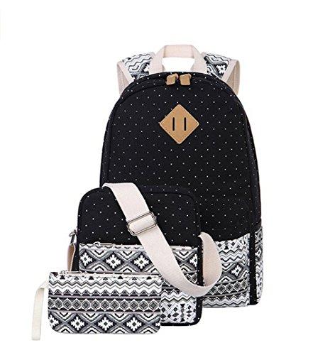Alando Canvas Dot Backpack Cute Lightweight Teen Girls Backpacks School Shoulder Bags (Black)