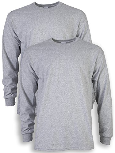 Gildan Men's Ultra Cotton Adult Long Sleeve T-Shirt, 2-Pack, Sport Grey, X-Large