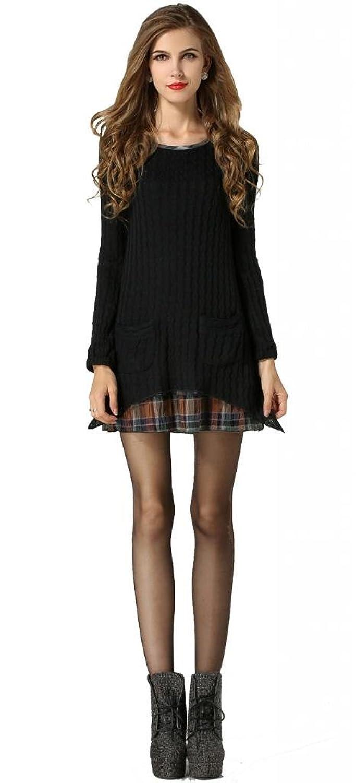 Beautifulmall Women's Winter Long Sleeve Plaid Tartan Slim Fit Sweater Mini Dress