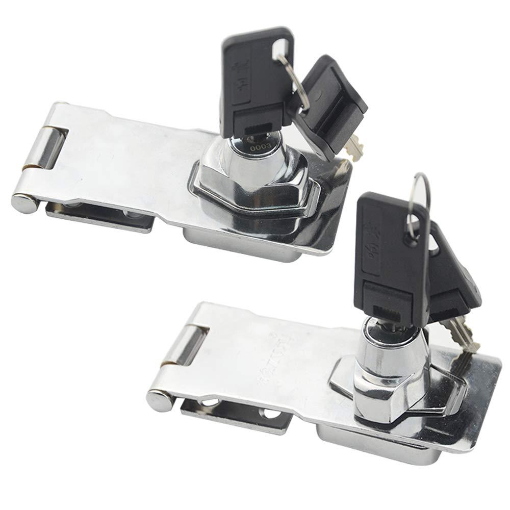 TOVOT 2 Pack Keyed Hasp Locks Twist Knob Keyed Locking Hasp w/Screws for Door Cabinet by TOVOT