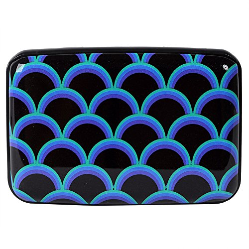 Aluminum Wallet RFID Blocking Slim Metal Credit Card Holder Hard Case (Colorful Fish Scales Pattern)