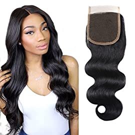 Unprocessed Brazilian Body Wave Lace Closure size 4×4 100% Human Hair Closure Li Queen Top Body Lace Closure Free Part 1B# Color 8 inch