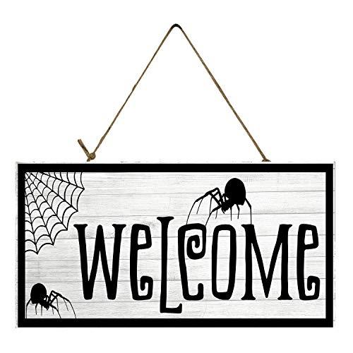 Venu67Hol Spider Welcome Halloween Printed Handmade Wood Plaque