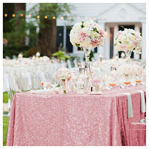 purple-sequin tablecloth-rectangle lentejuelas rojas mesa paño/Lino para fiestas decoración, A+Fuchsia Pink, 1