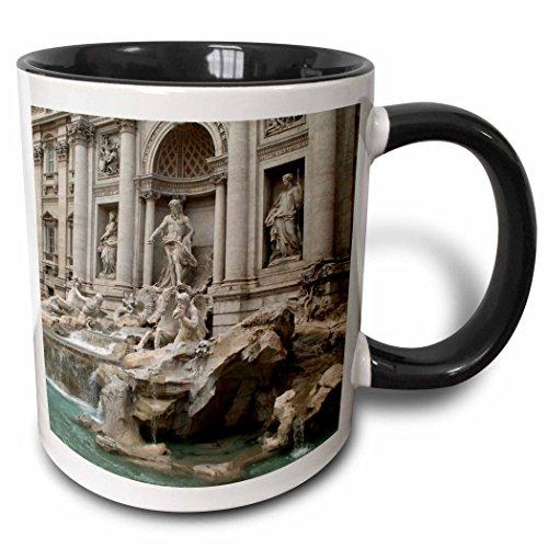 - 3dRose 47792_4 Trevi Fountain In Rome, Italy- Places To Travel Ceramic Mug, 11 oz, Black/White