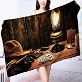 PRUNUS Extra Large Bath Towel Mystic Night in Hotel Room Dallas with Lantern Nightstand Table and Poker Card Easy Care Machine wash
