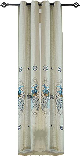 Home Decor Breathable Linen Curtain Color Peacock Country Curtains Embroidery Grommet Drapes 96 Inches Long Thermal Insulated Nursery Window Treatment