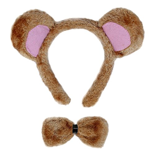 SeasonsTrading Bear Ears & Bow Tie Costume Set ~ Halloween Costume Party Kit