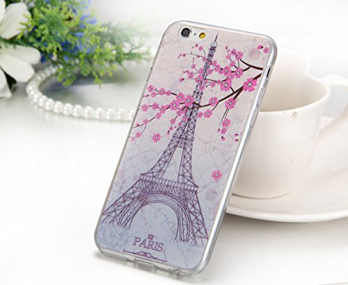 "JewelryWe Paris Eiffelturm Pflaume Blumen Pflaumenblüten TPU Silikon Handy Case Schutzhülle Tasche Hülle Rückenschutzhülle Etui für Apple iPhone 6(4,7"")"