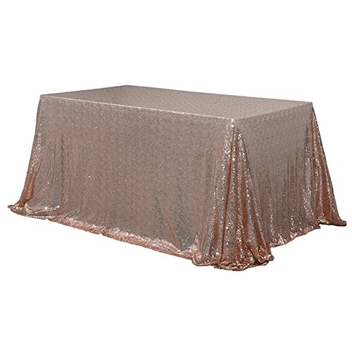 TRLYC 60 x 120-Inch Rectangular Sequin Tablecloth Rose Gold (Rose 10' Rectangular)