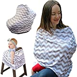 Pocaroo Nursing Cover with Pocket, Canopy Car Seat Cover Nursing Cover Up, High Chair, Shopping Cart, Stroller Cover for Boys or Girls. Best Breastfeeding Cover Up (Grey/White Chevron)
