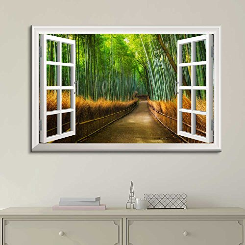 White Window Looking Out Into a Road with Bamboo Trees on the Side