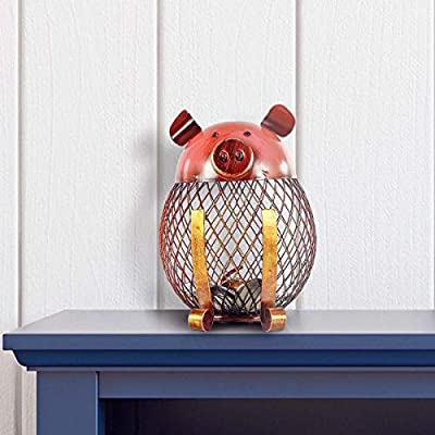 Cute Pig Piggy Bank, Iron Handmade Piggy Coin Bank Practical Craft Toy Bank Holder Coin Money Cash Saving Box Decorative Saving Bank Money Bank Adorable Pig Figurine for Boy Girl Baby Adult Pig Lover : Baby